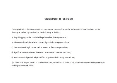 Commitment to FSC Values